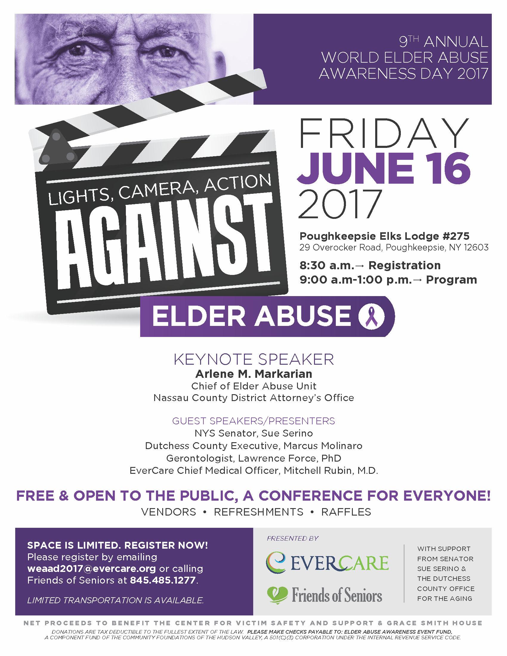 Lights, Camera, Action AGAINST Elder Abuse flyer
