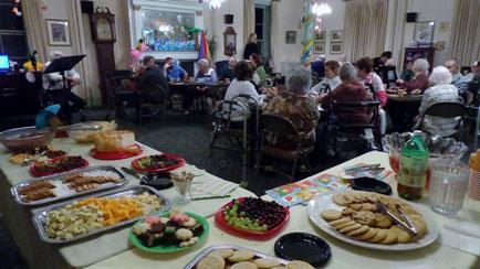 A spread of food at Vassar-warner home