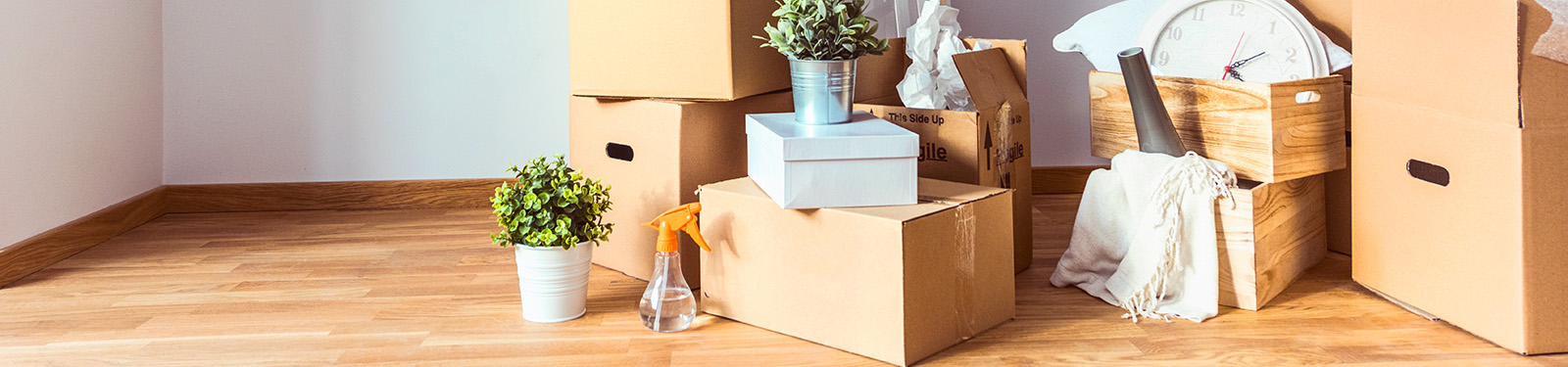 cardboard boxes filled with living room decoration