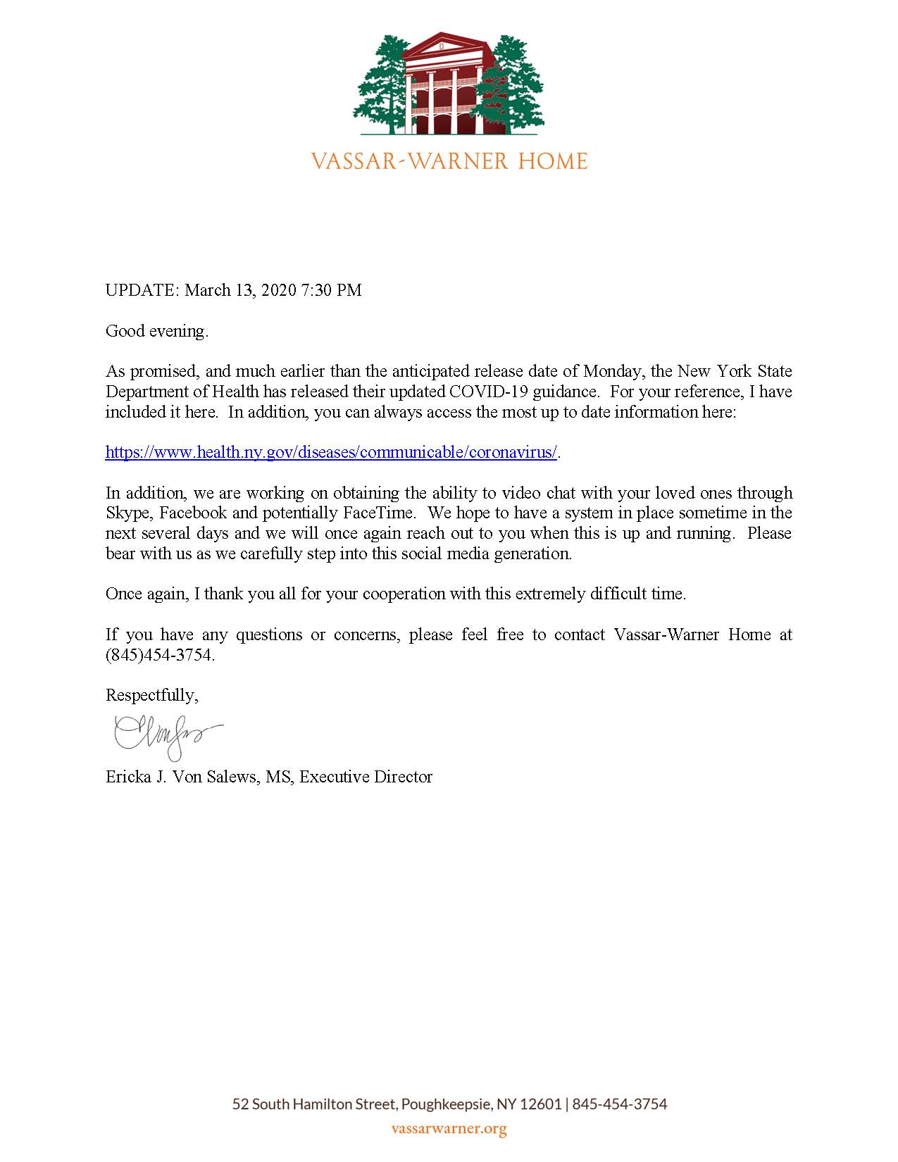 Update on COVID-19 for Vassar-Warner Home