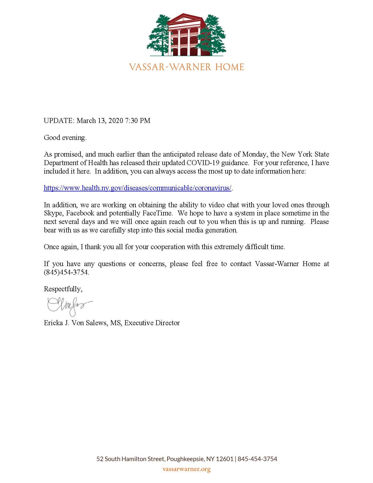 Update on COVID-19 for Vassar-Warner Home