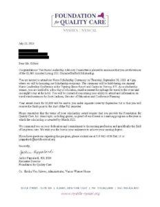 MG Scholarship Letter